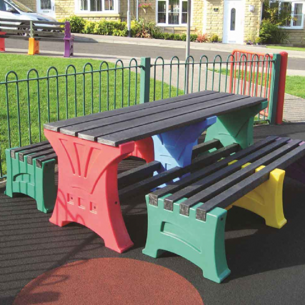 Multi Coloured Table and Bench Sets
